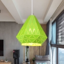 Modernism Diamond Suspended Lamp Metal 1 Light Pendant Light in Green for Sitting Room