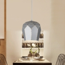 Domed Shade Pendant Light Modernism Metal Single Head Accent Bedroom Light Fixture in Gray