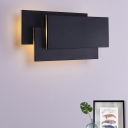 Rectangle LED Wall Light Minimalist Aluminum Sconce Lighting in Black for Corridor Balcony