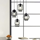 1 Head Geometric Drop Light Modern Design Smoke Glass Lighting Fixture for Corridor