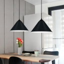 1 Light Cone Shape Ceiling Pendant Light Simplicity Metal Hanging Light in Black for Bedroom