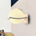 White Glass Sphere Wall Sconce Designers Style Single Light Wall Mount Light for Bedroom