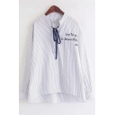 Letter Embroidered Chest Fashion Vertical Striped Print Bow-Tied Collar Long Sleeve Button Shirt