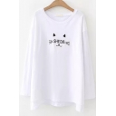 Cute Cartoon Cat Letter SHEDB Embroidered Round Neck Long Sleeve White Loose T-Shirt
