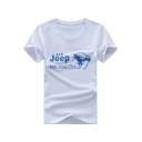 Letter JEEP Eagle Printed Men's Basic Round Neck Short Sleeve Cotton Graphic Tee