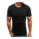 Men's Casual Short Sleeve Round Neck Summer Basic Plain Fitted Henley Shirt
