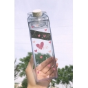 Lovely Pink Heart Printed Plastic Transparent Water Bottle Cup for Girls