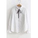 Bow-Tied Lapel Collar Flared Cuff Long Sleeve White Striped Button Down Shirt