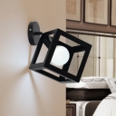 Black Square Lighting Fixture Minimalist Single Light Decorative Wall Lamp with Metal Frame