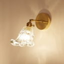Armed Wall Light Fixture Retro Style Textured Glass 1 Light Art Deco Sconce Light in Brass Finish