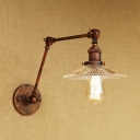 Rotatable 1 Bulb Scalloped Wall Lamp Industrial Ribbed Glass Shade Wall Mount Light in Rust