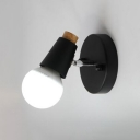 Open Bulb Wall Sconce with Round Metal Base Simplicity Single Head Wall Lamp in Black for Bedside