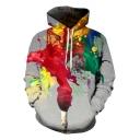 Stylish 3D Smoke Oil Paint Print Long Sleeve Loose Sport Grey Hoodie
