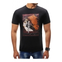 New Stylish Indian Printed Crewneck Short Sleeve Casual Fitted T-Shirt for Men