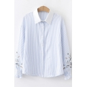 Fashion Embroidery Long Sleeve Classic Striped Print Lapel Collar Button Shirt