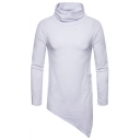 Men's High Neck Long Sleeve Simple Solid Slant Cut Fitted Long T-Shirt