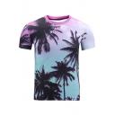 Summer 3D Tropical Coconut Palm Print Short Sleeve Casual Purple T-Shirt