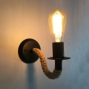 Rope Bare Bulb Wall Sconce Industrial 1 Light Mini Wall Mount Fixture in Black for Porch