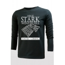 Popular STARK Wolf Head Printed Round Neck Long Sleeve T-Shirt for Men