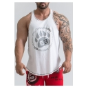 Guys Cool Vented Cotton Training Contrast Piping Basketball Athletic Muscle Tank Top