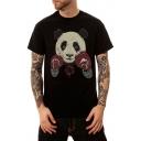 Summer Black Cute Cartoon Boxing Panda Pattern Short Sleeve Men's Casual T-Shirt
