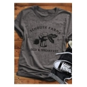 Grey Fashion Letter FARMS Printed Short Sleeve Graphic T-Shirt