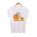 Awesome Creative Orange Bike Printed White Short Sleeve Tee