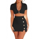 Women's New Fashion Sexy One-Button Notched Lapel Collar Cropped Top Mini Bodycon Skirt Plain Co-ords