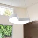 Matte White Geometric LED Hanging Pendant Light Modern Commercial Office Acrylic Ceiling Light