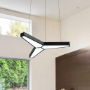3 Forks Angle LED Office Chandelier Lighting Black Finish Simple Style Acrylic Pendant Fixture