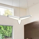 Y-Shaped LED Pendant Light Contemporary Free Connection Acrylic and Metal Hanging Pendant in Matte White