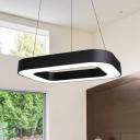 Rectangular Acrylic Lampshade Chandelier Lighting  Modern Black Finish LED Hanging Lights