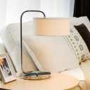 Simple Modern Drum Shade Table Light Decorative Metal Desk Light with Swirling Switch