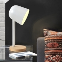 Post Modern Cup Shade Table Lamp Metal Accent Table Light with Wood Base for Bedroom