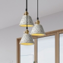 Concise Modern Tapered Suspended Light Length Adjustable Concrete Drop Light in White