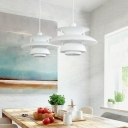 White 4 Tiers Ceiling Light Concise Contemporary Metal LED Accent Pendant Light
