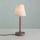Brown Tapered Shade Table Light Modern Simple Fabric Accent Desk Light for Study Room