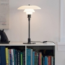 3 Tiers Table Light Retro Style Opaque Glass Accent Night Light in White for Bedroom