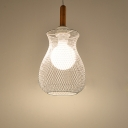 Industrial Mesh Cage Ceiling Light Length Adjustable Metal Accent Pendant Lamp in White