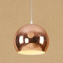 Rose Gold Hall Round Pendant Light Modern Length Adjustable Steel Decorative Ceiling Light