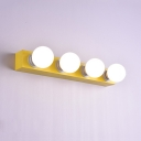Rotatable 4 Light Bulb Mirror Light Modern LED Wall Lamp in Yellow in Third Gear