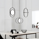Adjustable Oval Shaped Hanging Light Nordic Style Aluminium Pendant Lamp in Black