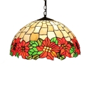 Antique Art Hanging Pendant with Floral Pattern Dome Glass Shade in Multicolored Finish, Tiffany Style, 2-Light