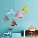 Multi Color Funnel Shape Pendant Lights Macaroon Style Aluminum LED Ceiling Pendant Light 8