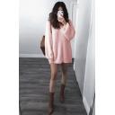 Lazy Long Sleeve Round Neck Plain Tunics Relaxed Sweater