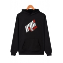 Cool Letter ICON Logo Pattern Pullover Long Sleeve Hoodie with Kangaroo Pocket