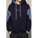 Boys Cool Letter Signature Print Colorblock Denim Patched Long Sleeve Loose Fitted Pullover Hoodie