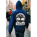 Men's Street Letter TIMBERLAND Graphic Print Long Sleeve Chunky Big Drawstring Hoodie