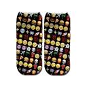 Black All Over Emoji Printed Plush Cotton Ankle High Socks