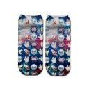 3D Emoji Galaxy Printed Cotton Ankle High Blue Socks